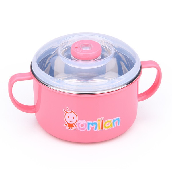 Pre-Order ถ้วยข้าวเด็กเล็ก 2 ชั้น มีหูจับสองข้าง ทำจากพลาสติกและสแตนเลส 300 ML สีชมพู