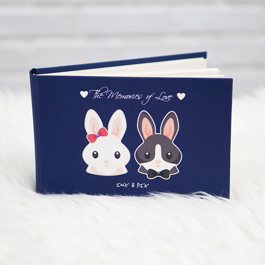 """อัลบั้ม 50 รูป (4x6"""") ลายกระต่ายคู่ - สั่งทำใส่ชื่อ"""