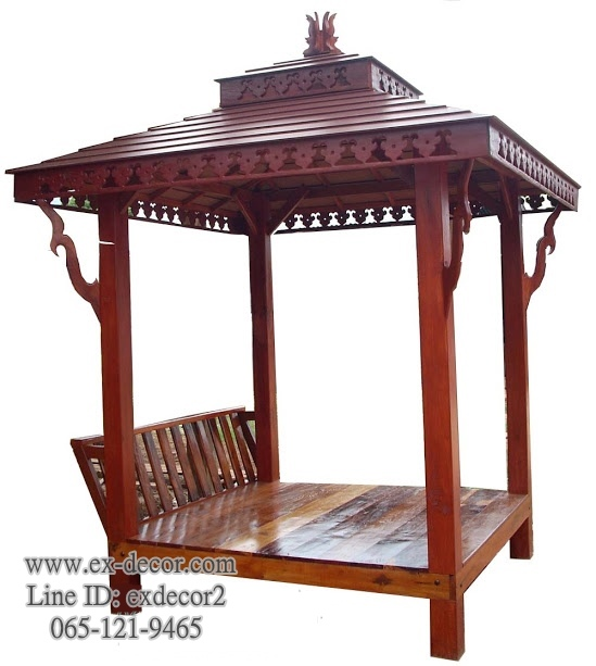 ศาลาบาหลี ศาลาไม้ เสาเหลี่ยม หลังคาสองชั้น ไม้เนื้อแข็งรวม ศาลาไม้สำหรับนั่งเล่นในสวนหรือตกแต่งสวน