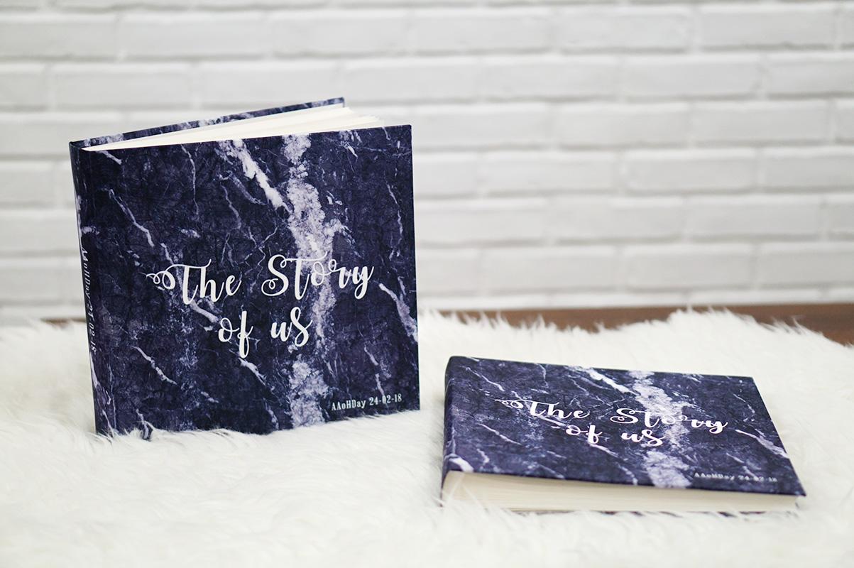สมุดเซ็น สมุดอวยพร ขนาด 60 หน้า แบบสั่งทำใส่ชื่อ ลายหินอ่อนสีกรม - Navy Marble