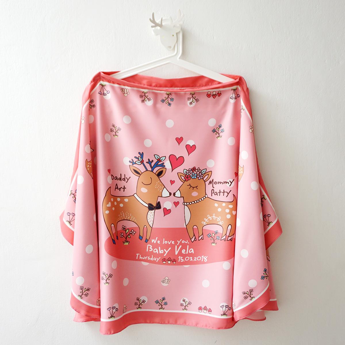 ผ้าคลุมให้นม สั่งทำใส่ชือ ลาย Couple Deer - Pink