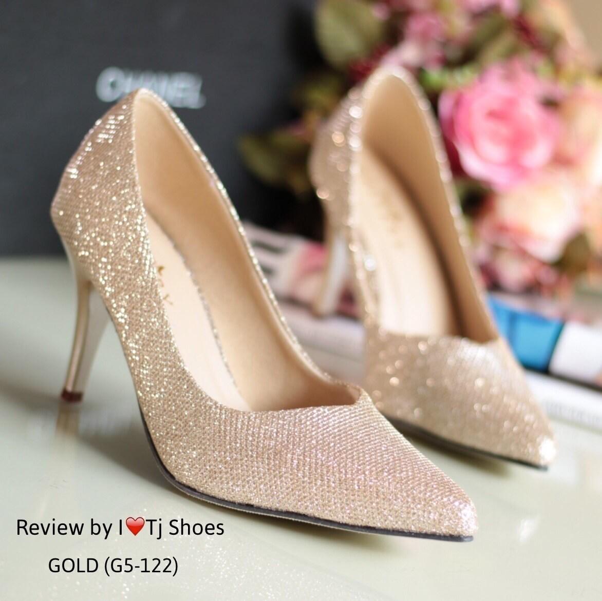 รองเท้าส้นสูงกลิตเตอร์ (สีทอง)