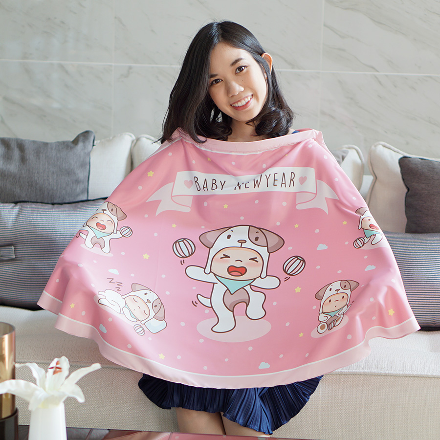 ผ้าคลุมให้นม สั่งทำใส่ชือ ลาย Puppy - Pink