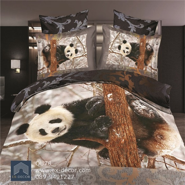 (Pre-order) ชุดผ้าปูที่นอน ปลอกหมอน ปลอกผ้าห่ม ผ้าคลุมเตียง ผ้าฝ้ายพิมพ์ 3D รูปหมีแพนด้าน