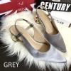 พร้อมส่ง : รองเท้าหัวแหลมส้นทอง Style Zara (สีเทา)
