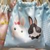 ถุงผ้าซาติน ลาย Couple Rabbit