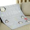 ผ้าห่มเด็ก ใส่ประวัติแรกเกิด ลายเพนกวิ้น Penguine - Indigo