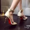 รองเท้าส้นเข็มแต่งทอง (สีขาว)