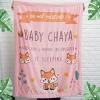 ผ้าห่มเด็ก สั่งทำใส่ชื่อ ลาย Fox - Pink