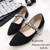 รองเท้าคัทชูซาติน Style MIUMIU (สีดำ)