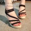 รองเท้าส้นเตารีดลำลองรัดข้อ (สีดำ)