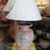 โคมไฟตั้งโต๊ะ ทำจากแจกันดินเผาด่านเกวียน ลายช้าง สีโคลนน้ำตาล-แดง