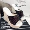 รองเท้าส้นเตารีดกลิตเตอร์ (สีดำ)