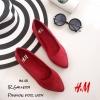 รองเท้าส้นแบนสไตล์ HM (สีแดง)