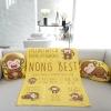 ผ้าห่มเด็ก ใส่ประวัติแรกเกิด ลายลิง สีเหลือง / Monkey - Yellow