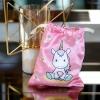 ถุงผ้าซาติน ลาย Unicorn - Pink