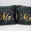 หมอนอิงสั่งทำใส่ชื่อ ลาย Black Marble - Calligraphy - Gold