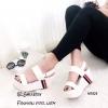 รองเท้าส้นเตารีดเมจิกเทปแต่งลาย (สีขาว)