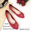 รองเท้าคัทชูส้นแบน Style Dior (สีแดง)