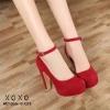 รองเท้าคัทชูส้นสูงแต่งสายรัด (สีแดง)