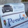 ผ้าห่ม ใส่ประวัติแรกเกิด ลาย Porsche - Blue ขนาด 100x150cm