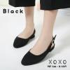 รองเท้าคัทชูรัดส้นทรงหัวกลม (สีดำ)