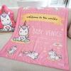 ผ้าห่มเด็ก ใส่ชื่อ ลายยูนิคอร์น - Unicorn - Pink