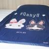 ผ้าห่ม ใส่ชื่อ ลาย Couple Rabbit - Navy ไซส์ใหญ่ 100x150cm