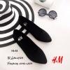 รองเท้าส้นแบนสไตล์ HM (สีดำ)