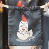 ถุงผ้าซาติน ลาย Kook Kai - Charcoal
