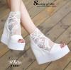 รองเท้าเตารีดลูกไม้เกาหลีแต่งซิป (สีขาว)