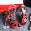 รองเท้า YSL Tribute ลายหนังงู (สีแดงเข้ม)