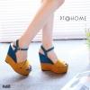 รองเท้าส้นเตารีดทูโทน (สีเหลือง)