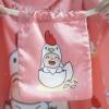 ถุงผ้าซาติน ลาย Kook Kai - Pink