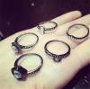 R-23.แหวนแฟชั่น 5 ชิ้น สีดำ