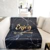 ผ้าห่ม ใส่ชื่อ ลายหินอ่อนสีดำ Balck Marble - Gold ไซส์ใหญ่ 100x150cm