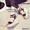 รองเท้าส้นเตารีดพันข้อ (สีดำ)