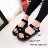รองเท้าลำลองส้นเตารีดแต่งลาย (สีดำ)