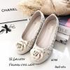 รองเท้าคัทชูส้นแบน Style Chanel (ครีม)