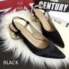 พร้อมส่ง : รองเท้าหัวแหลมส้นทอง Style Zara (สีดำ)