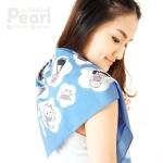 ผ้าพันคอสั่งทำใส่ชื่อ ลาย Japanese Dolls - Blue