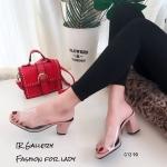 รองเท้าส้นตันสวมใสนิ่ม (สีชมพู)