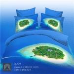 (Pre-order) ชุดผ้าปูที่นอน ปลอกหมอน ปลอกผ้าห่ม ผ้าคลุมเตียง ผ้าฝ้ายพิมพ์ 3D รูปเกา สีน้ำทะเล