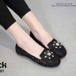 รองเท้าคัทชูลูกไม้ Style Roger Vivier (สีดำ)