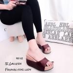 รองเท้าส้นเตารีดแบบสวงเปิดหน้า (สีแดงเข้ม)