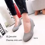 รองเท้าคัทชูส้นเตารีดแบบเรียบ (สีเทา)