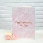 """อัลบั้ม 300 รูป (4x6"""") ลายหินอ่อนสีชมพู - สั่งทำใส่ชื่อ - Pink Marble - Gold"""