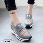 รองเท้าผ้าใบแฟชั่นเสริมส้น Y-8 (สีเทา)