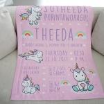 ผ้าห่มเด็ก ใส่ประวัติแรกเกิด ลายยูนิคอร์น - Unicorn - Pink Lavender