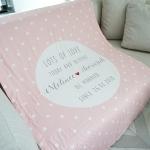 ผ้าห่ม ใส่ชื่อ ลาย Polka dot - Pink ไซส์ใหญ่ 100x150cm